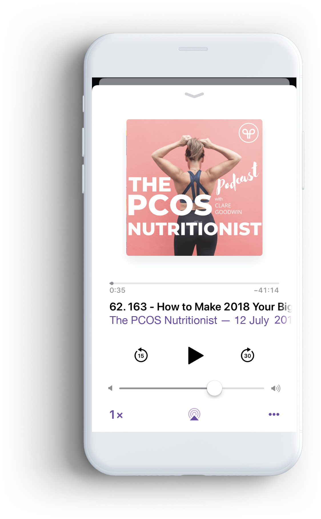 iPhone with The PCOS Nutritionist podcast on the screen